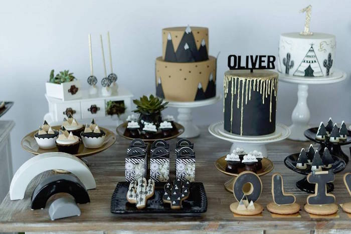 Cake table from a Rustic Wild One Birthday Party on Kara's Party Ideas | KarasPartyIdeas.com (12)