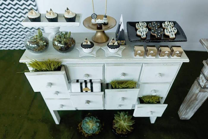 Sweet table from a Rustic Wild One Birthday Party on Kara's Party Ideas | KarasPartyIdeas.com (8)