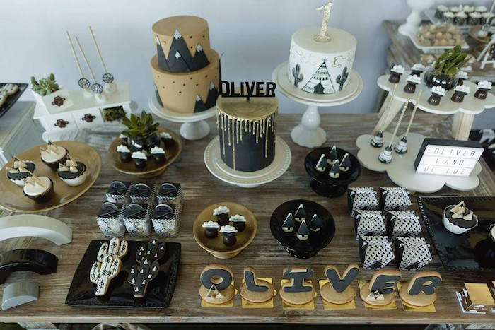 Sweet tablescape from a Rustic Wild One Birthday Party on Kara's Party Ideas | KarasPartyIdeas.com (5)