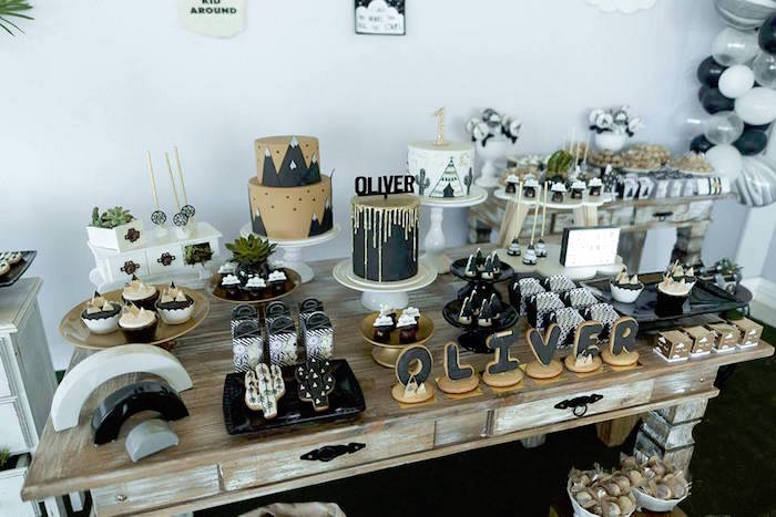Dessert table from a Rustic Wild One Birthday Party on Kara's Party Ideas | KarasPartyIdeas.com (26)