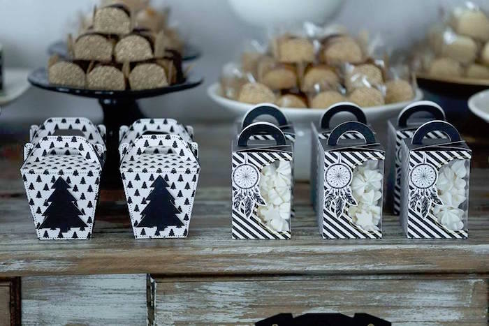 Favor boxes from a Rustic Wild One Birthday Party on Kara's Party Ideas | KarasPartyIdeas.com (22)