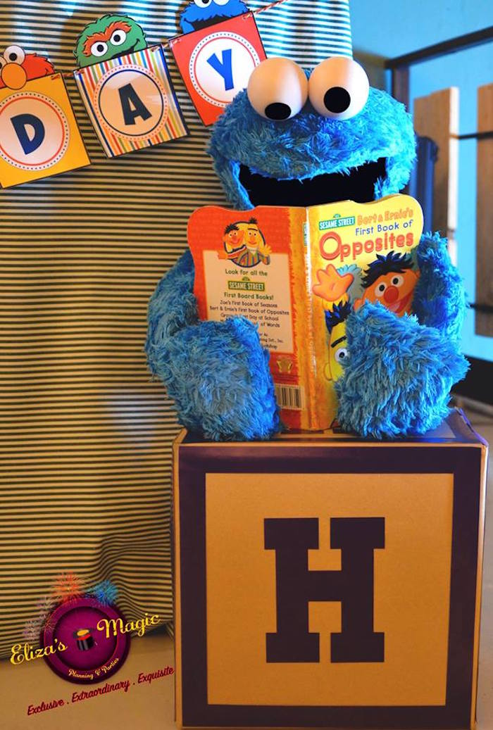 Cookie Monster block from a Sesame Street Birthday Party on Kara's Party Ideas | KarasPartyIdeas.com (11)