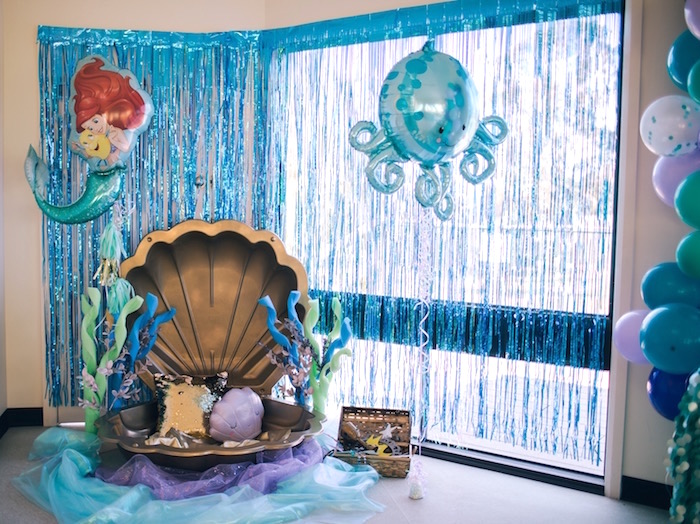 Clam photo booth from a Shimmering Mermaid Birthday Party on Kara's Party Ideas | KarasPartyIdeas.com (10)