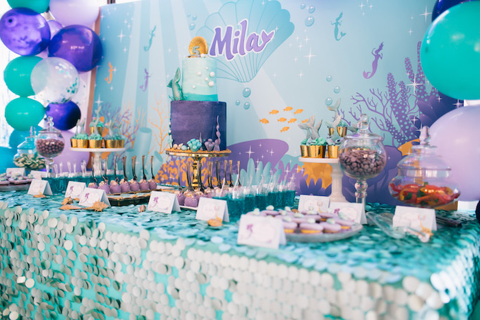 Mermaid dessert tablescape from a Shimmering Mermaid Birthday Party on Kara's Party Ideas | KarasPartyIdeas.com (7)