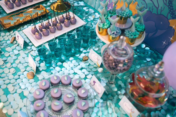 Sweet tabletop from a Shimmering Mermaid Birthday Party on Kara's Party Ideas | KarasPartyIdeas.com (6)