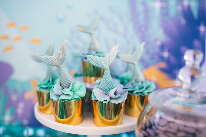 Mermaid Fin Cupcakes from a Shimmering Mermaid Birthday Party on Kara's Party Ideas | KarasPartyIdeas.com (4)