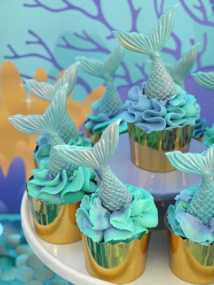 Mermaid Fin Cupcakes from a Shimmering Mermaid Birthday Party on Kara's Party Ideas | KarasPartyIdeas.com (16)
