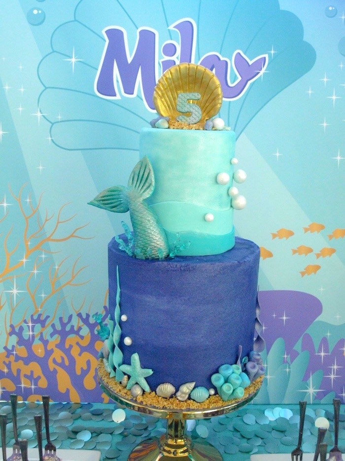 Mermaid Cake from a Shimmering Mermaid Birthday Party on Kara's Party Ideas | KarasPartyIdeas.com (15)