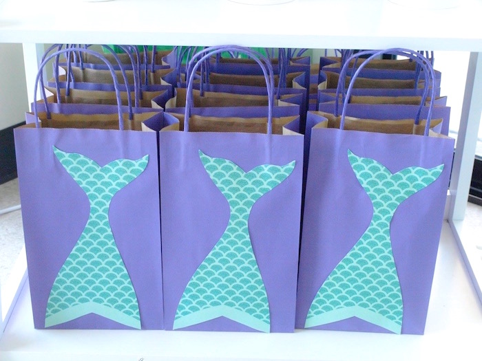 Mermaid Fin Gift Bags From A Shimmering Birthday Party On Karas Ideas
