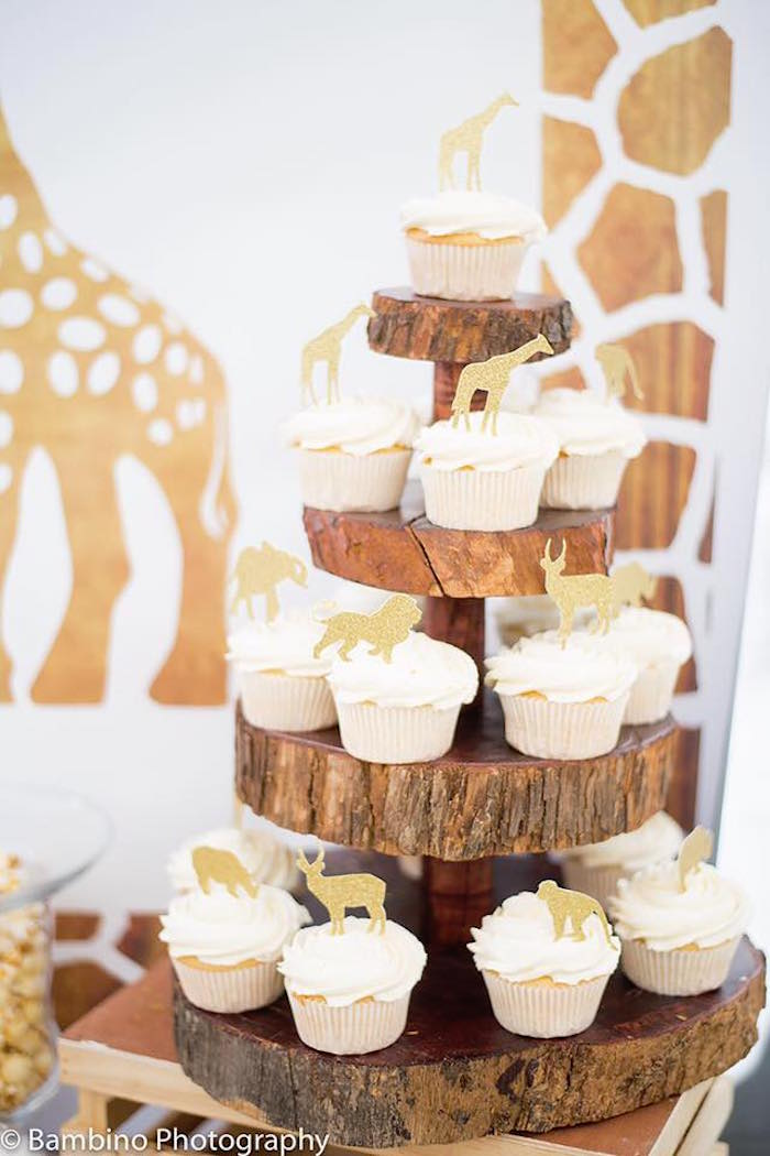 Cupcakes with gold animal toppers from a Sophie the Giraffe 1st Birthday Party on Kara's Party Ideas | KarasPartyIdeas.com (13)