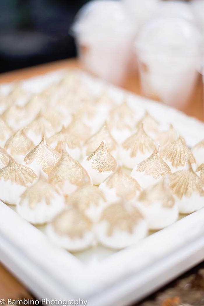 Gold-tipped meringues from a Sophie the Giraffe 1st Birthday Party on Kara's Party Ideas | KarasPartyIdeas.com (20)