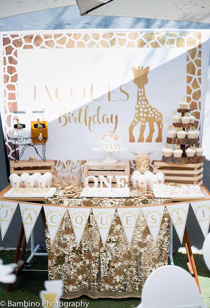Giraffe dessert table from a Sophie the Giraffe 1st Birthday Party on Kara's Party Ideas | KarasPartyIdeas.com (15)