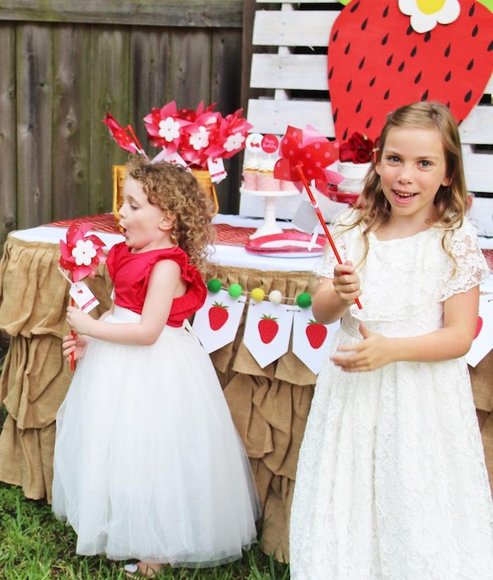 Pinwheel favors from a Sweet Strawberry Birthday Party on Kara's Party Ideas   KarasPartyIdeas.com (7)