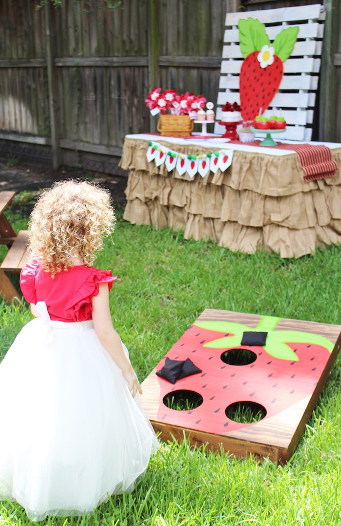 Bean Bag Toss from a Sweet Strawberry Birthday Party on Kara's Party Ideas | KarasPartyIdeas.com (5)