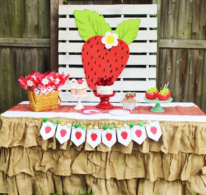 Strawberry-inspired party table from a Sweet Strawberry Birthday Party on Kara's Party Ideas   KarasPartyIdeas.com (16)