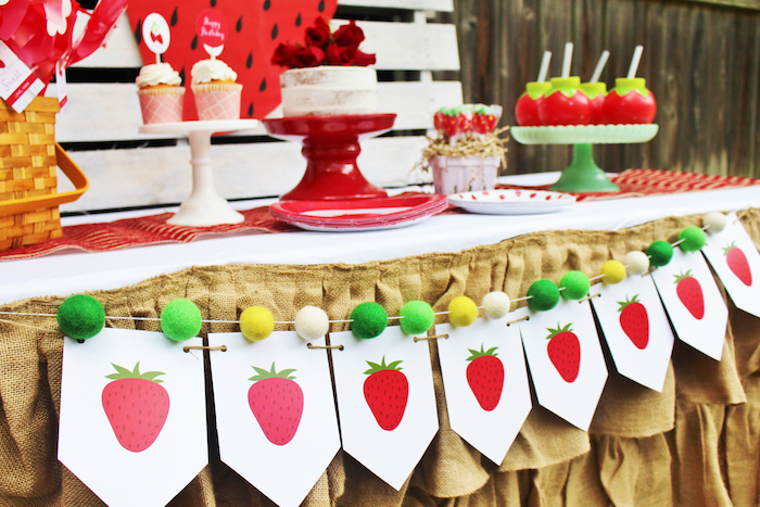 Strawberry pennant banner & felt pom garland from a Sweet Strawberry Birthday Party on Kara's Party Ideas   KarasPartyIdeas.com (14)