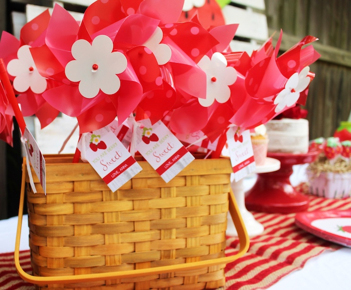 Pinwheel favors from a Sweet Strawberry Birthday Party on Kara's Party Ideas | KarasPartyIdeas.com (12)