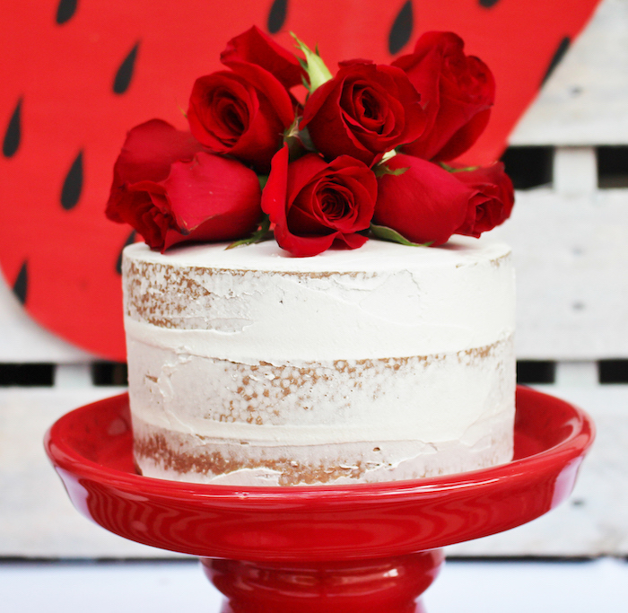 Rose-topped semi naked cake from a Sweet Strawberry Birthday Party on Kara's Party Ideas | KarasPartyIdeas.com (9)