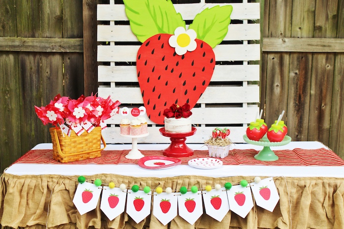 Strawberry Sweet Table from a Sweet Strawberry Birthday Party on Kara's Party Ideas | KarasPartyIdeas.com (8)