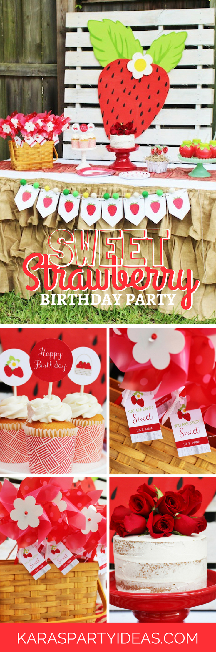 Sweet Strawberry Birthday Party via Kara's Party Ideas - KarasPartyIdeas.com
