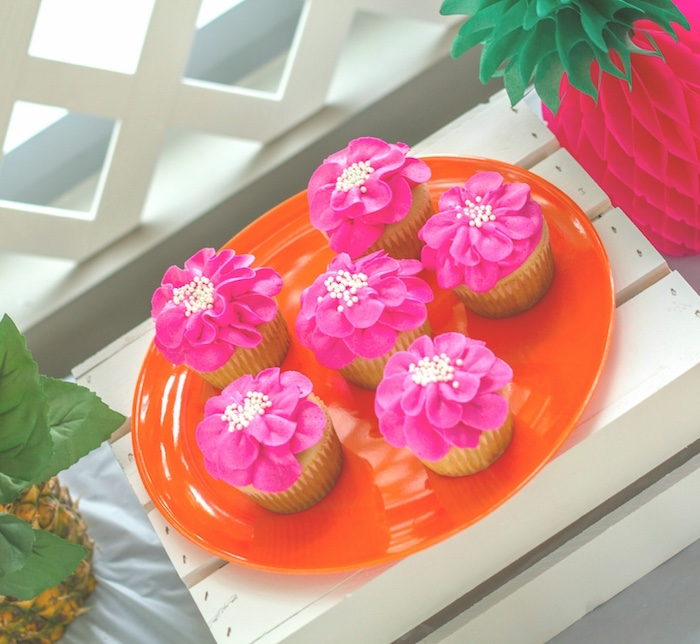 Tropical flower cupcakes from a Tropical Bridal Shower on Kara's Party Ideas | KarasPartyIdeas.com (11)