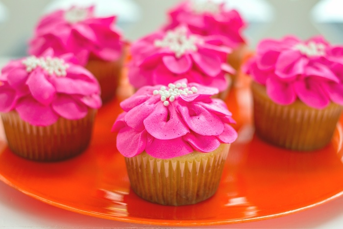 Tropical flower cupcakes from a Tropical Bridal Shower on Kara's Party Ideas | KarasPartyIdeas.com (10)