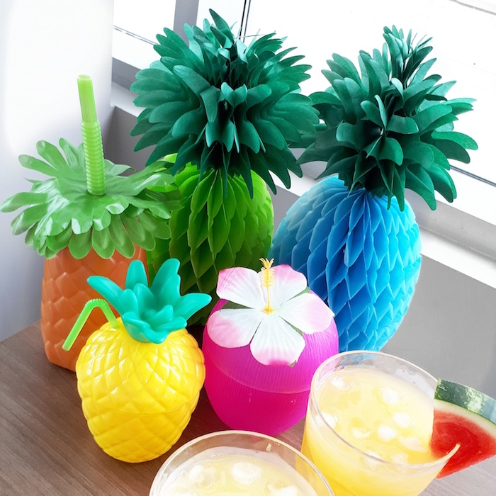 Tropical drink cups and tissue decorations from a Tropical Bridal Shower on Kara's Party Ideas | KarasPartyIdeas.com (4)