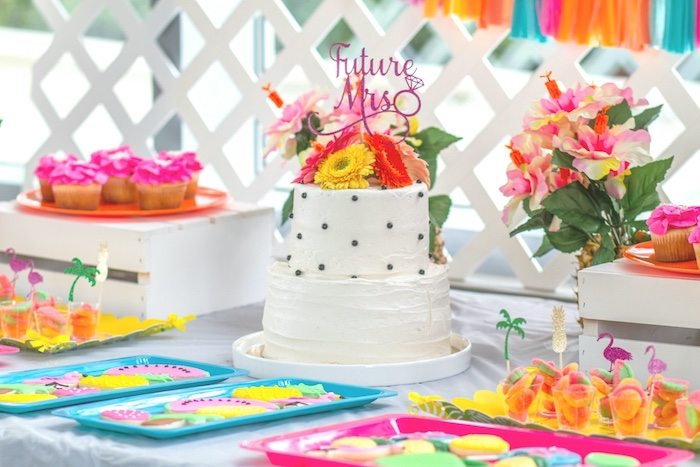 Cake table from a Tropical Bridal Shower on Kara's Party Ideas | KarasPartyIdeas.com (22)