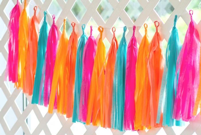 Tissue tassel garland from a Tropical Bridal Shower on Kara's Party Ideas | KarasPartyIdeas.com (16)