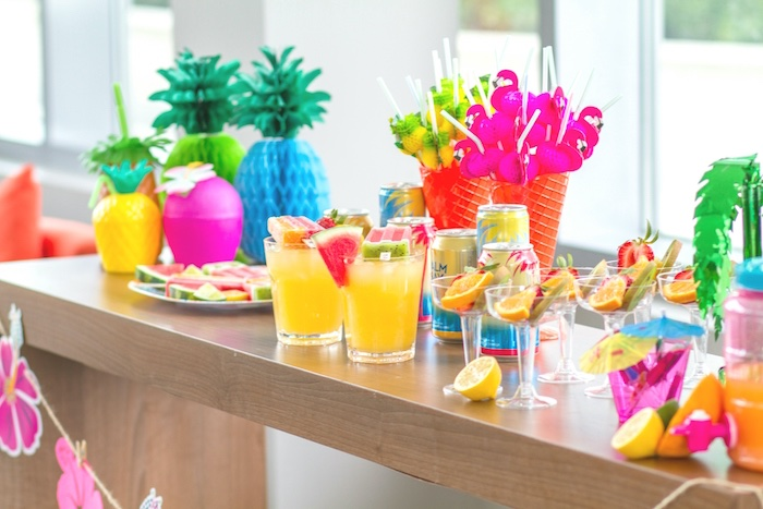 Beverage bar from a Tropical Bridal Shower on Kara's Party Ideas | KarasPartyIdeas.com (15)