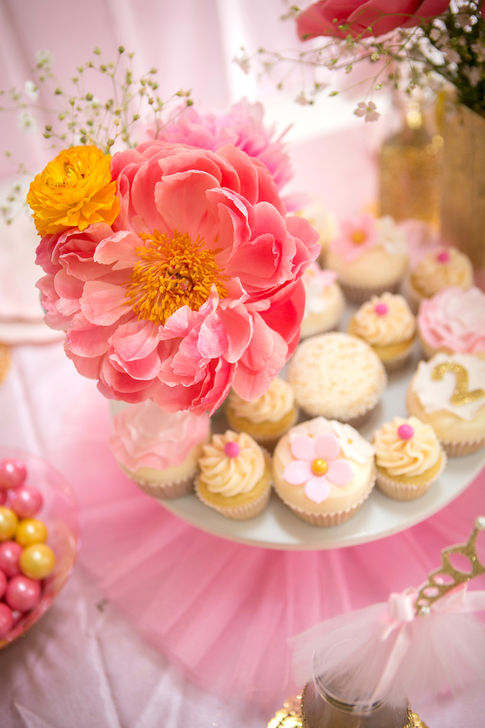 Cupcakes and blooms from a Tutu Cute 2nd Birthday on Kara's Party Ideas | KarasPartyIdeas.com (12)