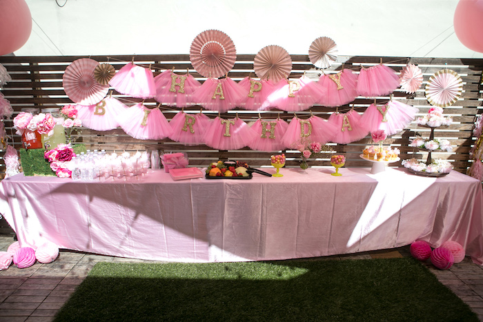 Food & beverage table from a Tutu Cute 2nd Birthday on Kara's Party Ideas | KarasPartyIdeas.com (10)
