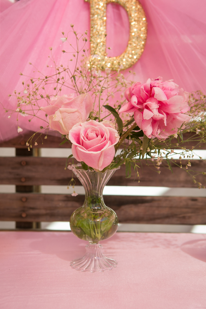 Pink floral centerpiece from a Tutu Cute 2nd Birthday on Kara's Party Ideas | KarasPartyIdeas.com (9)