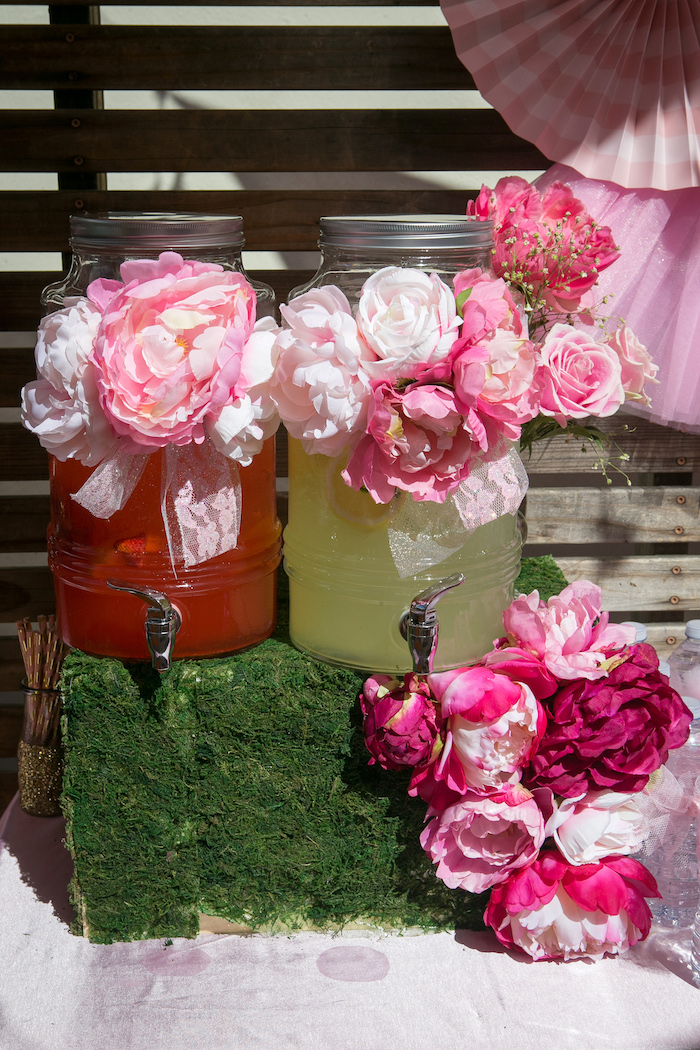 Beverage dispensers adorned with flowers from a Tutu Cute 2nd Birthday on Kara's Party Ideas | KarasPartyIdeas.com (6)