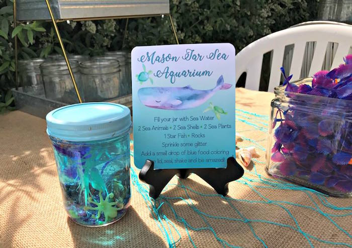 Mason Jar Aquarium Activity from an Under the Sea Birthday Pool Party on Kara's Party Ideas | KarasPartyIdeas.com (8)