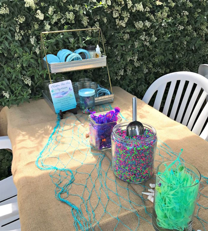 Tablescape from an Under the Sea Birthday Pool Party on Kara's Party Ideas | KarasPartyIdeas.com (7)