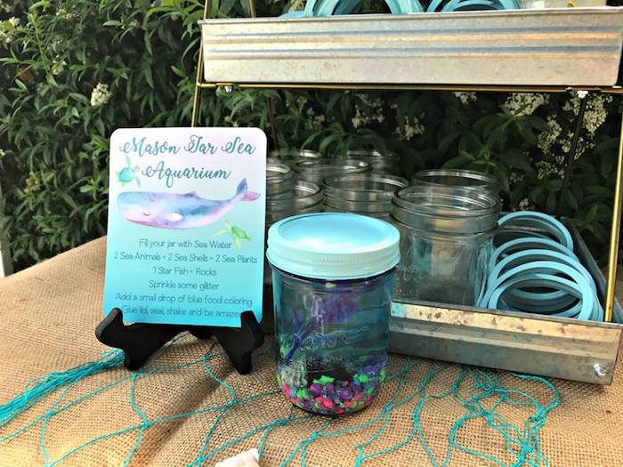 Mason Jar Sea Aquarium from an Under the Sea Birthday Pool Party on Kara's Party Ideas | KarasPartyIdeas.com (3)