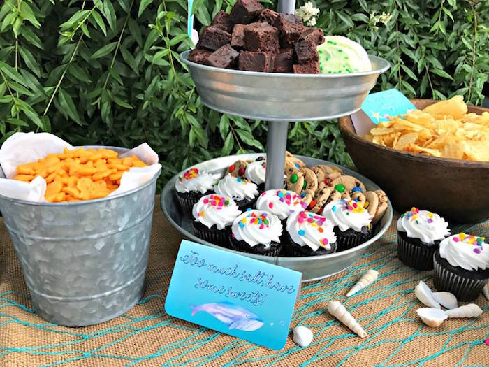 Sweets and snacks from an Under the Sea Birthday Pool Party on Kara's Party Ideas | KarasPartyIdeas.com (17)