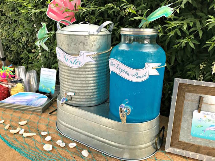 Beverage dispensers from an Under the Sea Birthday Pool Party on Kara's Party Ideas | KarasPartyIdeas.com (12)