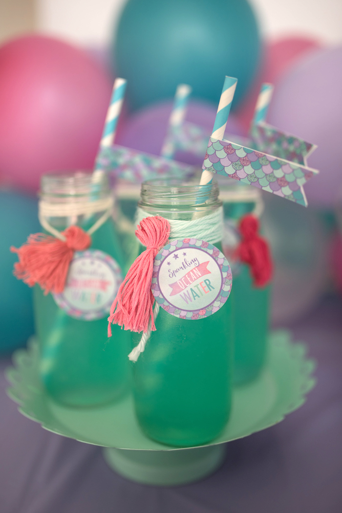 Drinks from an Under the Sea Mermaid Birthday Party on Kara's Party Ideas | KarasPartyIdeas.com (25)