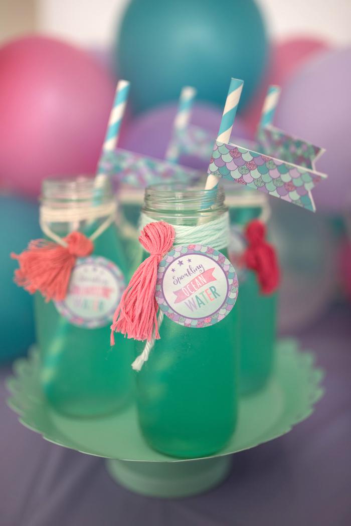 Drinks from an Under the Sea Mermaid Birthday Party on Kara's Party Ideas | KarasPartyIdeas.com (25)