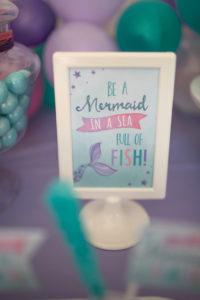 Mermaid party signage from an Under the Sea Mermaid Birthday Party on Kara's Party Ideas | KarasPartyIdeas.com (24)