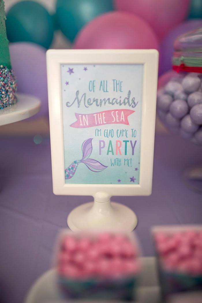 Mermaid party signage from an Under the Sea Mermaid Birthday Party on Kara's Party Ideas | KarasPartyIdeas.com (23)