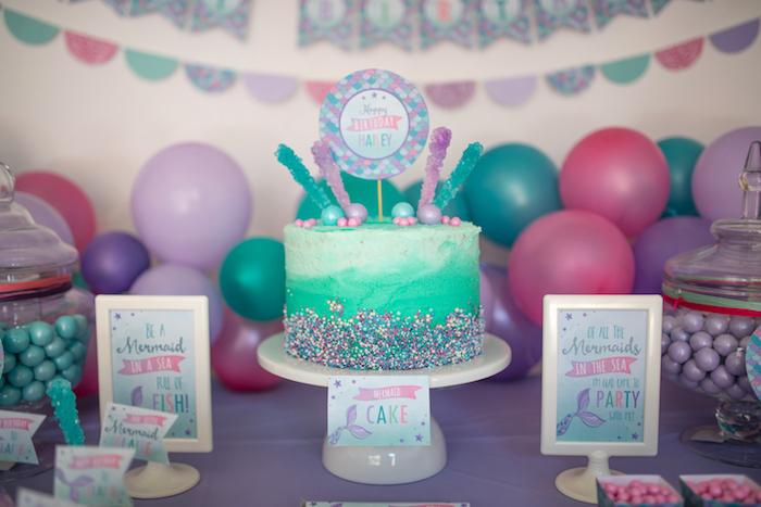 Ombre cake from an Under the Sea Mermaid Birthday Party on Kara's Party Ideas | KarasPartyIdeas.com (22)