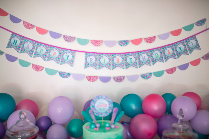 Banners from an Under the Sea Mermaid Birthday Party on Kara's Party Ideas | KarasPartyIdeas.com (21)