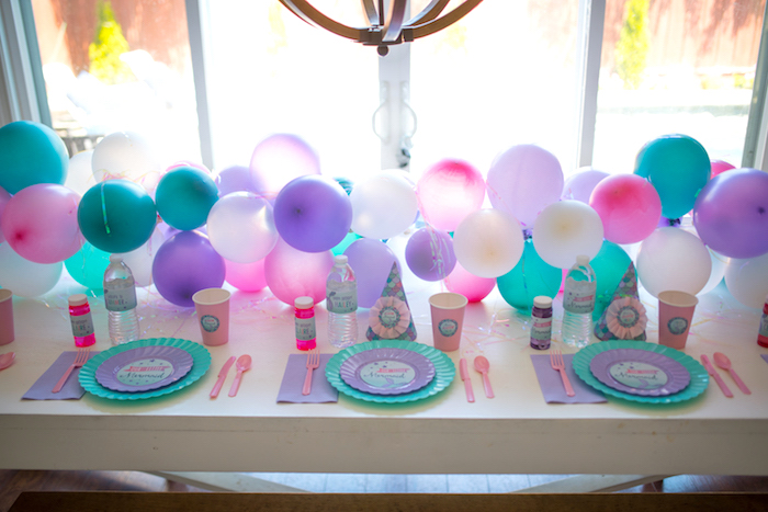 Guest table from an Under the Sea Mermaid Birthday Party on Kara's Party Ideas | KarasPartyIdeas.com (19)