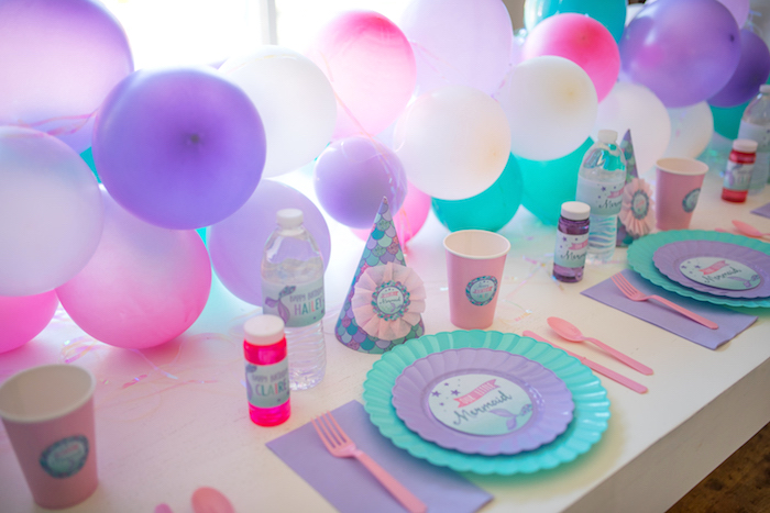 Place setting from an Under the Sea Mermaid Birthday Party on Kara's Party Ideas | KarasPartyIdeas.com (18)