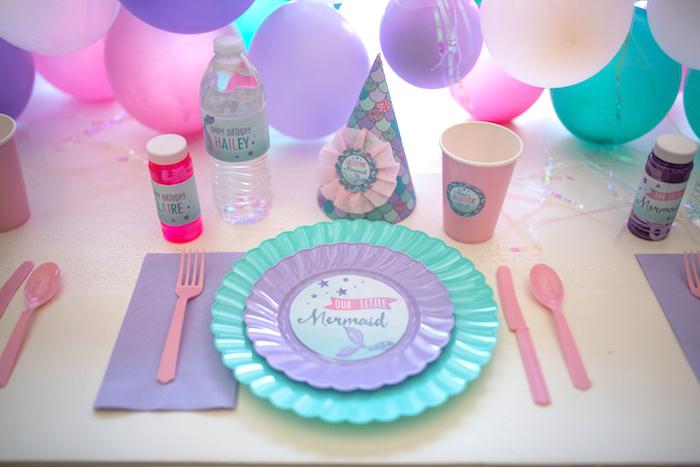 Place setting from an Under the Sea Mermaid Birthday Party on Kara's Party Ideas | KarasPartyIdeas.com (17)