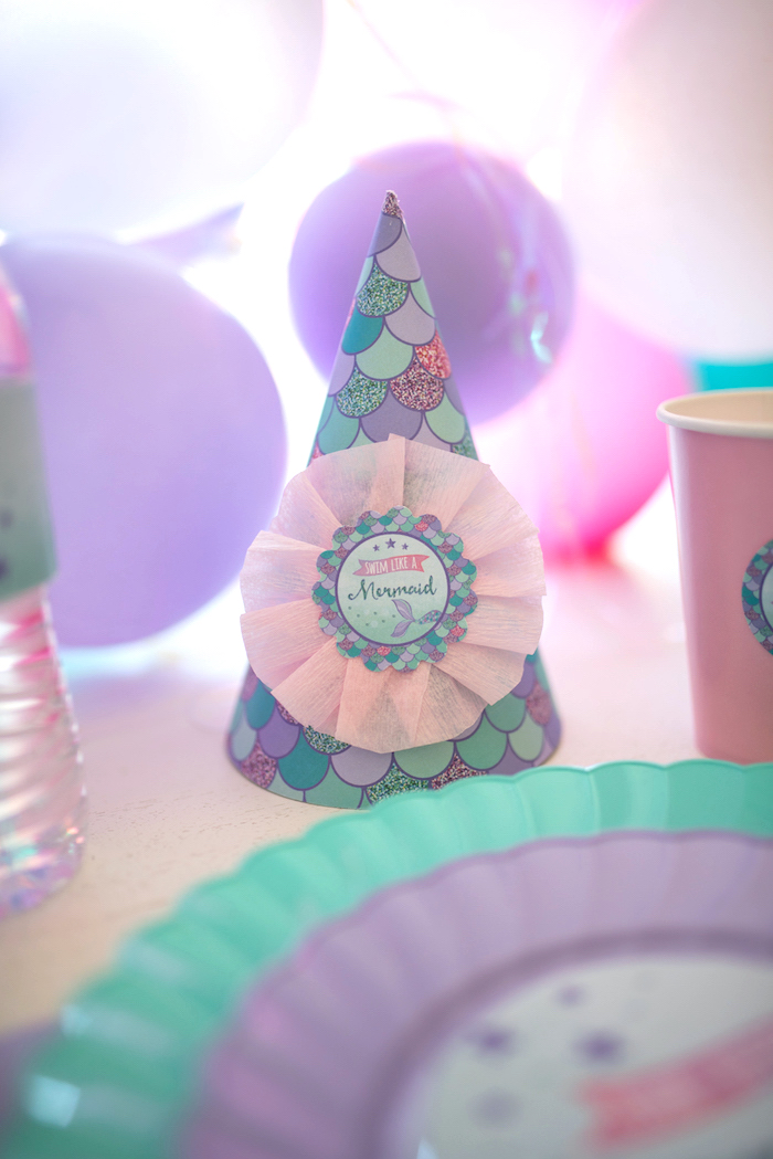 Mermaid scale party hat from an Under the Sea Mermaid Birthday Party on Kara's Party Ideas | KarasPartyIdeas.com (16)