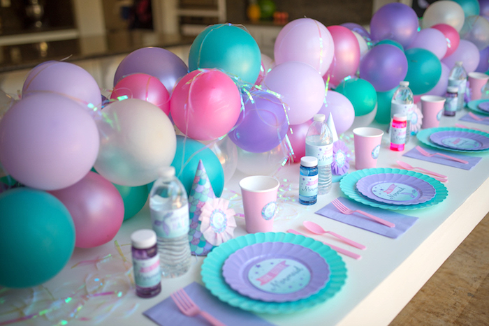 Place settings from an Under the Sea Mermaid Birthday Party on Kara's Party Ideas | KarasPartyIdeas.com (14)